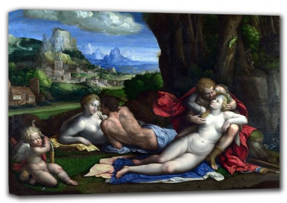 Garofalo, Benvenuto Tisi da: An Allegory of Love. Fine Art Canvas. Sizes: A4/A3/A2/A1 (001302)